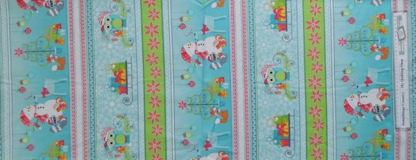 Country Patchwork Quilting Fabric - Xmas Frosty Friends Owls-Border 50x110cm New