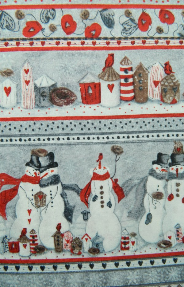 Country Patchwork Quilting Sewing Fabric SNOWMAN PATCH FQ Xmas Borde 50x55cm NEW