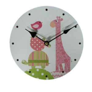 Clock French Country Vintage Inspired Wall Clocks Time PINK GIRAFFE Small 19cm