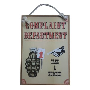 Country Printed Quality Wooden Sign with Hanger COMPLAINTS DEPARTMENT Plaque New