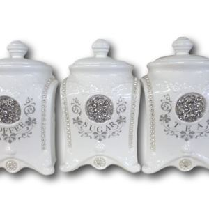 French Country Elegant Kitchen Canisters Tea Coffee, Sugar Bling with Seals NEW