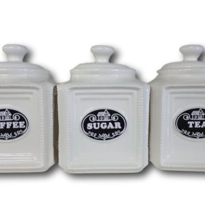 French Country Elegant Kitchen Canisters Tea, Coffee, Sugar Black Label with Seals NEW