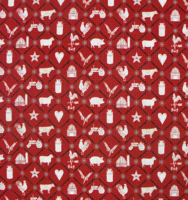 Patchwork Quilting Fabric RED ROOSTER FARMYARD COW Sewing Cotton FQ 50X55cm NEW