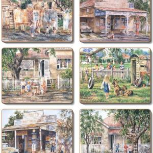 Country Inspired Kitchen NOSTALGIA Cinnamon Cork backed Placemats or Coasters Set 6 NEW