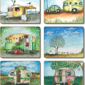Country Inspired Kitchen VINTAGE CARAVANS Cinnamon Cork backed Placemats or Coasters Set 6