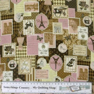 Quilting Patchwork Cotton Sewing Fabric PARIS 1889 PINK 50x55cm FQ NEW Material www.somethingscountry.com.au