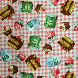 Quilting Patchwork Cotton Sewing Fabric PINK CHECKS DESSERTS 50x55cm FQ NEW www.somethingscountry.com