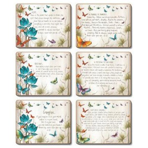 Country Inspired Kitchen BUTTERFLY WISHES Cinnamon Cork backed Placemats or Coasters Set 6