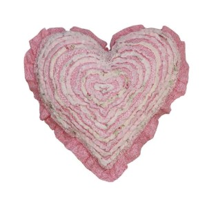 French Country New Cushion MIA Ruffled Heart Cushion Filled 45cm new