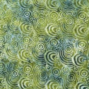 Quilting Patchwork Sewing Cotton Batik TIKI GREEN SWIRLS B Cotton 50x55cm FQ NEW
