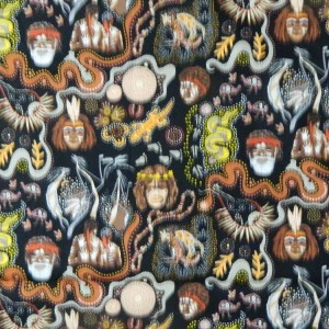 Quilting Patchwork Sewing Fabric ABORIGINAL DREAMTIME Cotton 50x55cmFQ NEW