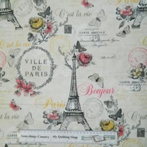 Quilting Patchwork Sewing Cotton Fabric C'EST LA VIE PARIS 50x55cm FQ NEW