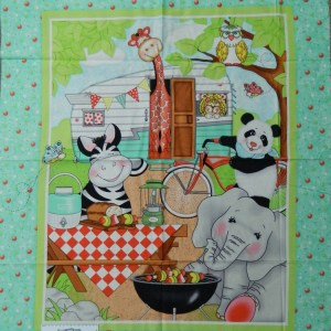 Patchwork Quilting Sewing Fabric KIDS ANIMALS CAMPING Panel Cotton Material 90x110cm New