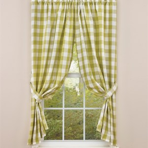 French Country New Curtain WICKLOW ALOE Green Large Check Panels 180 x 157cm NEW