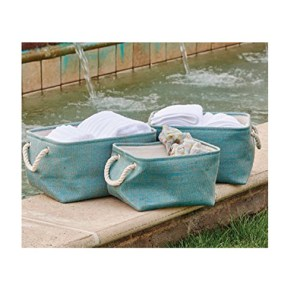 French Country Seagrass Styled STORAGE BINS AQUA Green SET 3 New
