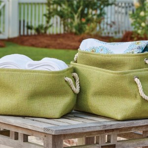 French Country Modern Inspired Seagrass Styled STORAGE BINS Melon Green SET 3 New