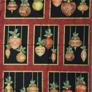 Patchwork Quilting Sewing Fabric CHRISTMAS ORNAMENTS XMAS Panel 60x110cm New
