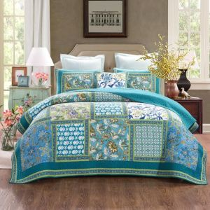 French Country Vintage Inspired Patchwork Bed Quilt AQUAMARINE New Coverlet