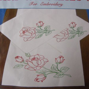 Preprinted Stamped Embroidery Doily Hand Stitching ROSES with Broadcloth Fabric NEW
