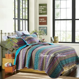 French Country Vintage Inspired Patchwork Bed Quilt MOROCCO BLUE New Coverlet