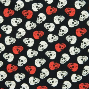 Quilting Patchwork Sewing Fabric RED AND WHITE SKULLS 50x55cm FQ New