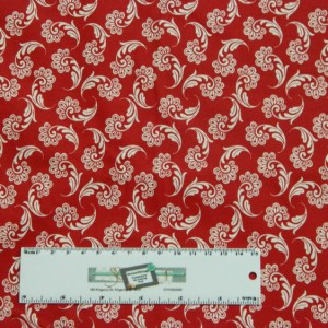 Quilting Patchwork Sewing Fabric WHITE ON RED FLOURISH 50x55cm FQ New Material