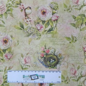 Patchwork Quilting Fabric VINTAGE BIRDS AND BLOSSOMS Cotton FQ 50X55cm NEW