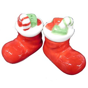 French Country Chic Collectable Salt and Pepper Set Christmas STOCKINGS New