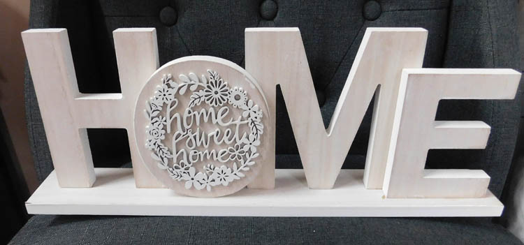 Wooden Sign French Country Vintage HOME Table Top Plaque Carved New