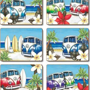 Country Kitchen BEACH KOMBI Cork Backed Placemats or Coasters Set 6 NEW Cinnamon