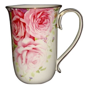 French Country Chic Kitchen Coffee Mugs Elegant PINK ROSE Set of 2 New FREEPOST