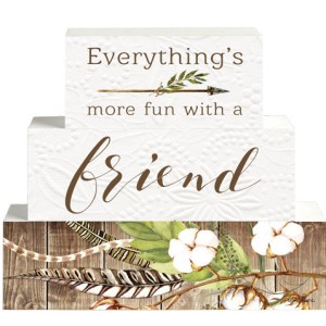 French Country Vintage Inspired Wooden Set of Blocks MORE FUN WITH A FRIEND Sign NEW