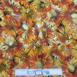 Patchwork Quilting Sewing Fabric METALLIC SUNNY FLORAL Material 50x55cm FQ New