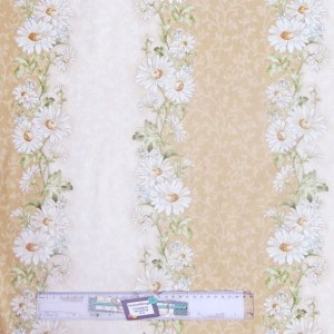 Patchwork Quilting Sewing Fabric GENTLE BREEZE COFFEE FLORAL BORDER 50x55cm FQ New