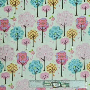 Patchwork Quilting Sewing Fabric PINK PRETTY TREES Material 50x55cmFQ New