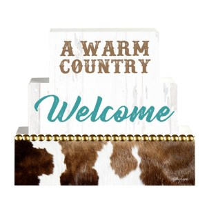 French Country Vintage Inspired Wooden Set of Blocks COUNTRY WELCOME Sign NEW