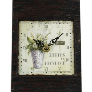 Clock French Country Vintage Inspired Table Clocks Small Metal Vase Flowers 12x17cm New