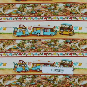 Patchwork Quilting Sewing Fabric CARAVAN BORDERS Material 50x55cmFQ New