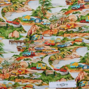 Patchwork Quilting Sewing Fabric OUTBACK CARAVAN Material 50x55cmFQ New