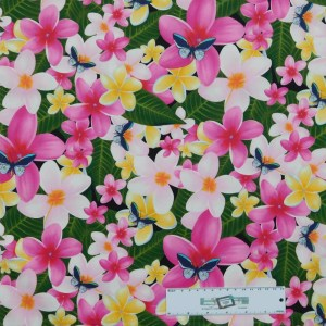 Patchwork Quilting Sewing Fabric PINK FRANGIPANIS Material 50x55cm FQ New