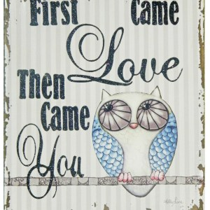 French Country Vintage Inspired Wall Art Wooden FIRST CAME LOVE Sign New