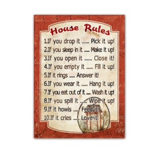 Country Tin Sign Vintage Inspired Wall Art HOUSE RULES Plaque NEW