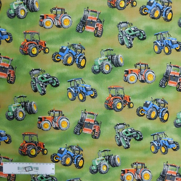 Patchwork Quilting Sewing Fabric ASSORTED TRACTORS 50x55cm FQ New