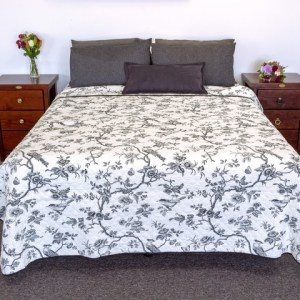 French Country Vintage Inspired Patchwork Bed Quilt BLACK FOREST Coverlet New