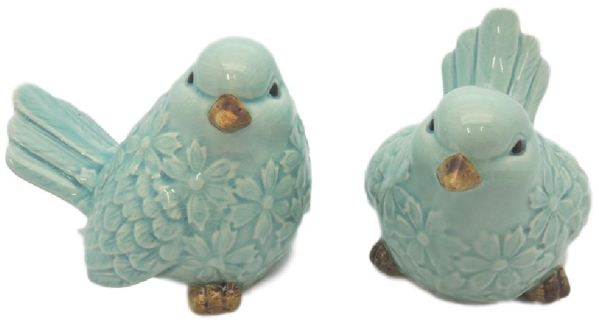 French Country Ornamental Set of 2 Birds BLUE Collectable Gift Idea Large New