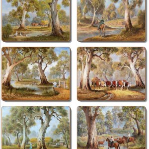 Country Kitchen REDGUM COUNTRY Cork Backed Placemats or Coasters Set 6 NEW Cinnamon