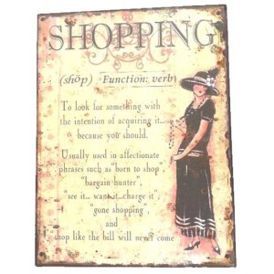 Country Tin Sign Vintage French Inspired Wall Art SHOPPING Plaque NEW