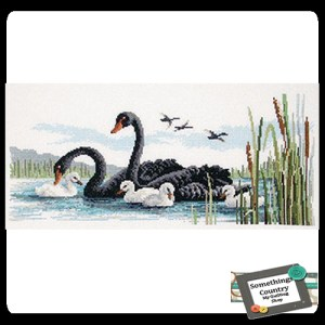 Country Threads Cross Stitch Counted X Stitch Pattern Graph BLACK SWANS New (CT)