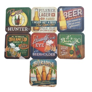 Country Kitchen Beer Drinking Cork Backed Board Coasters Set 7 New
