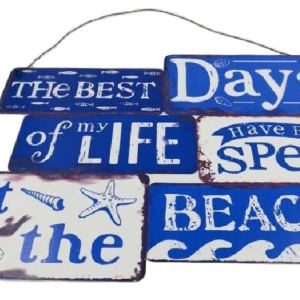 Country Tin Sign Vintage French Inspired Wall Art BEST DAYS OF LIFE AT BEACH Plaque NEW